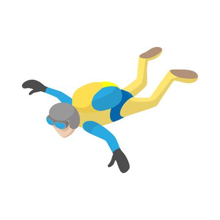 caida libre: Paracaidista en caída libre en el icono de estilo de dibujos animados sobre un fondo blanco