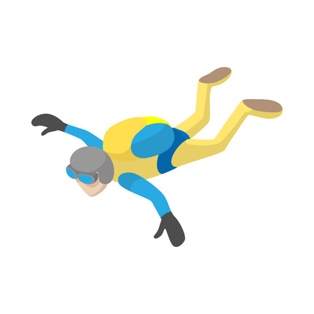 freefall: Skydiver in freefall icon in cartoon style on a white background