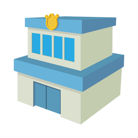 precinct station: Police department building icon in cartoon style on a white background Illustration