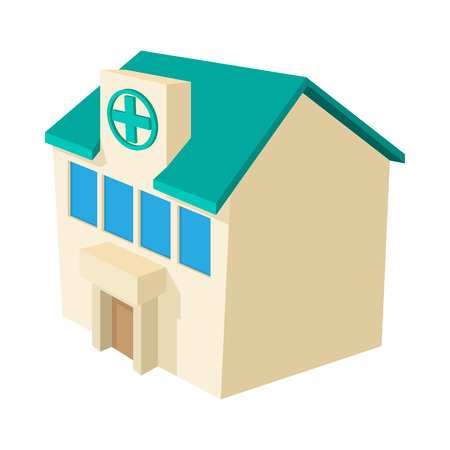 hospital symbol: Hospital building icon in cartoon style on a white background Illustration