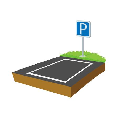 Parkeerplaats icoon in cartoon-stijl op een witte achtergrond