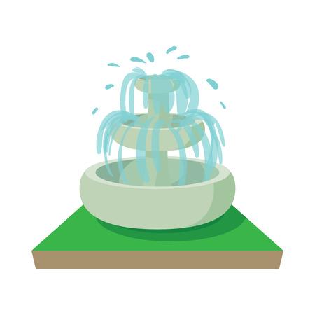 garden fountain: Fountain icon in cartoon style on a white background