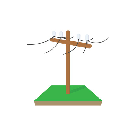 power pole: Power pole icon in cartoon style on a white background Illustration