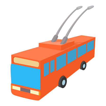 trolleybus: Red trolleybus icon in cartoon style on a white background