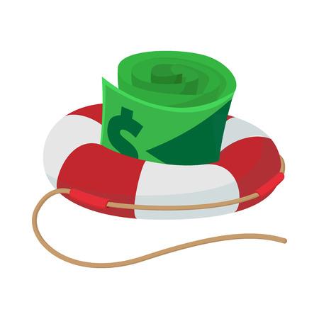 Billets d'un dollar en icône de bouée de sauvetage en style cartoon sur fond blanc Vecteurs
