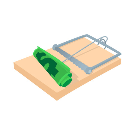 credit crunch: Money in a mousetrap icon in cartoon style on a white background Illustration