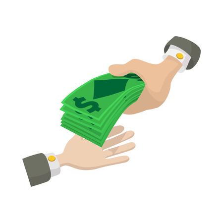 白い背景の上の漫画のスタイルでお金のアイコンを渡す手