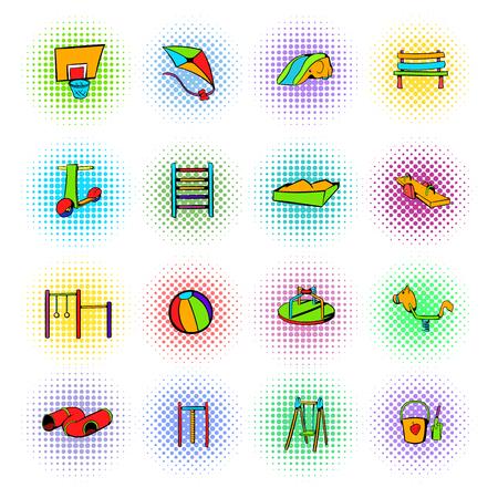 sandpit: Park playground icons set isolated on white background