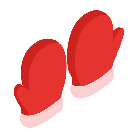 small group of object: Pair of red mittens icon in isometric 3d style on a white background