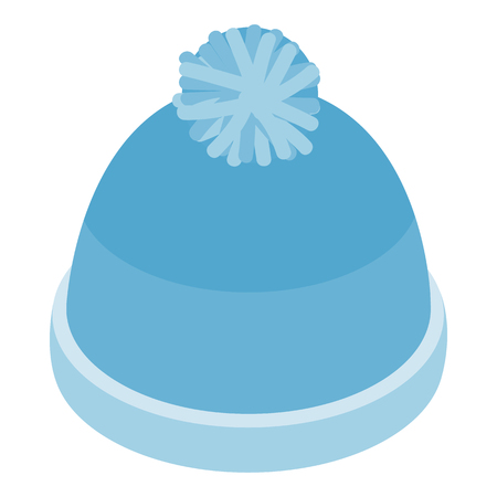 ski wear: Blue knitted haticon in isometric 3d style on a white background