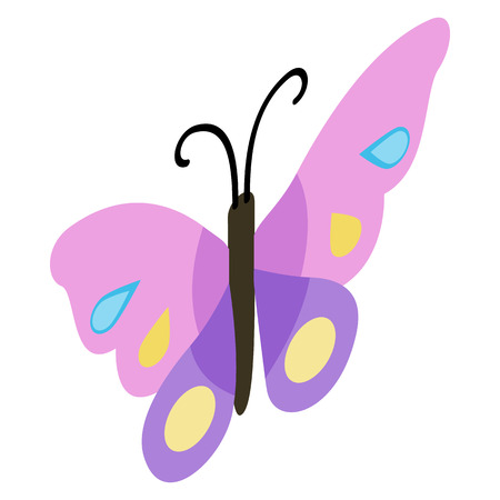 3d butterfly: Pink violet butterfly icon in isometric 3d style on a white background
