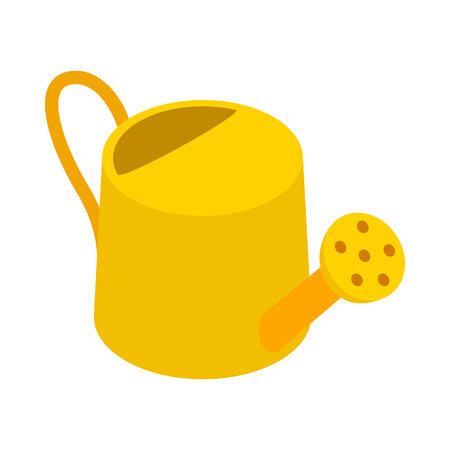 can: Yellow watering can icon in isometric 3d style on a white background