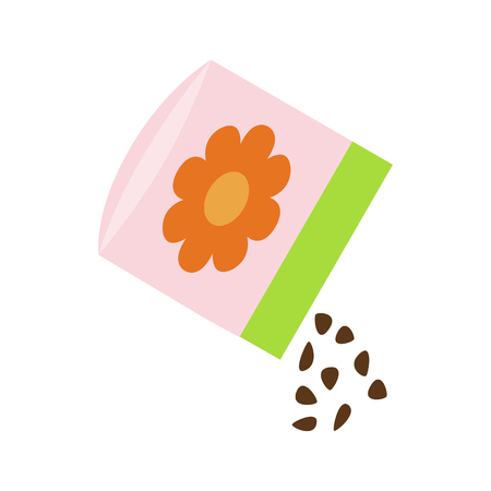 plant seed: Small bag of flower seeds icon in isometric 3d style on a white background