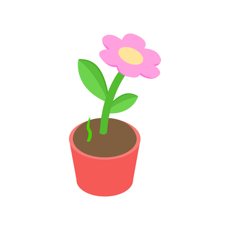 potting soil: Pink flower in a pot icon in isometric 3d style on a white background Illustration