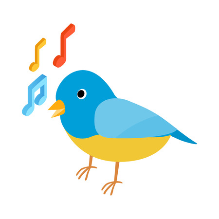 singing bird: Blue singing bird icon in isometric 3d style on a white background