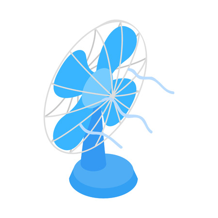fan: Blue fun icon in isometric 3d style on a white background