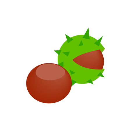 nutty: Hazelnuts icon in isometric 3d style on a white background