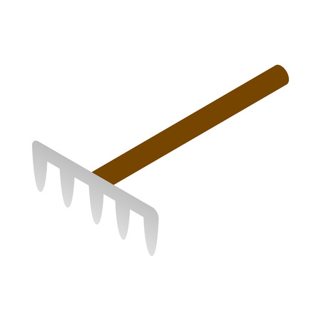 cultivator: Garden rake icon in isometric 3d style on a white background Illustration