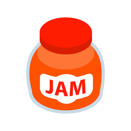 fruity: Jar of fruity jam icon in isometric 3d style on a white background