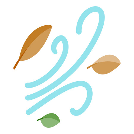 freefall: Leaves spinning in the wind icon in isometric 3d style on a white background Illustration
