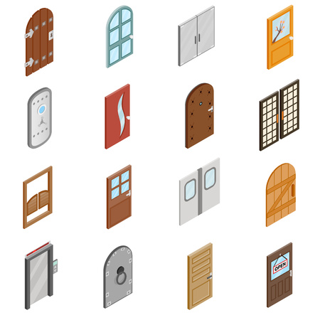 abrir puertas: Puertas iconos en 3D isom�trica estilo aislados en el fondo blanco