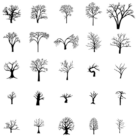 fallen: Fallen Tree silhouette set isolated on white background Illustration