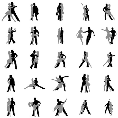 tango dance: Tango dance silhouettes set isolated on white background