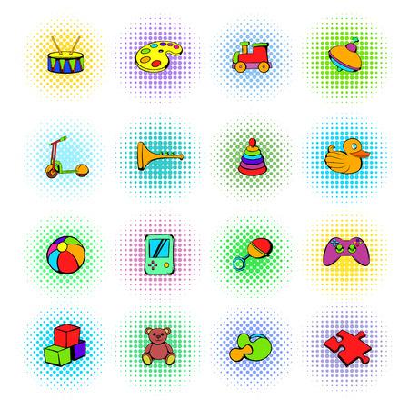 juguete: iconos de juguetes establecidos en estilo c�mic sobre un fondo blanco