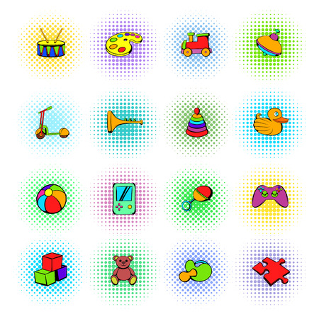 duck toy: Toys icons set in comics style on a white background Illustration