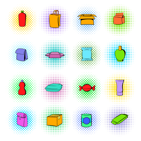package icon: Package icons set in comics style on a white background