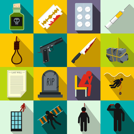 suicidal: Suicide icons set in flat style for any design Illustration