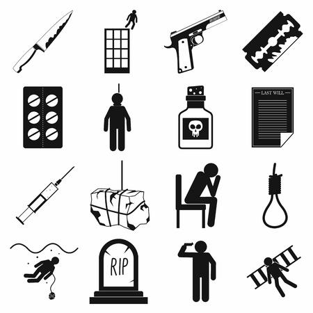ansiedad: iconos suicidas establecidos de forma sencilla sobre un fondo blanco Vectores