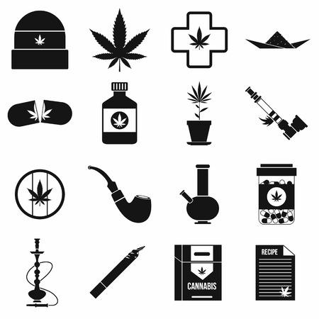 bong: Marijuana icons set in simple style on a white background