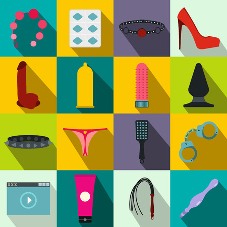 Sex shop icons set in flat style for any design Vetores
