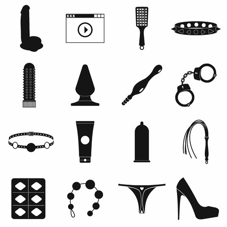 Sex shop icons set in simple style on a white background Vectores