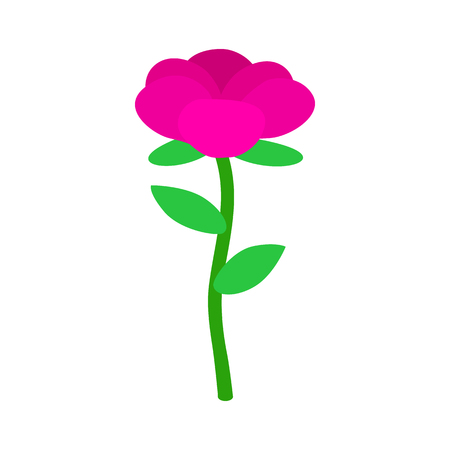 pink flower: Pink flower icon in isometric 3d style on a white background Illustration