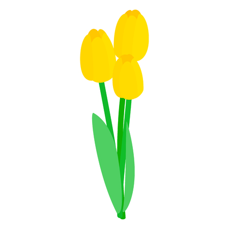 tulips: Yellow tulips icon in isometric 3d style on a white background Illustration