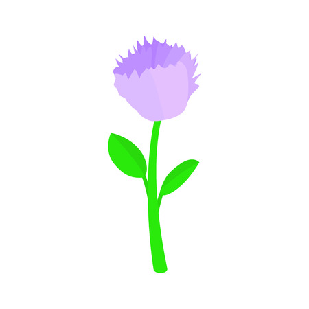 violet flower: Violet flower icon in isometric 3d style on a white background