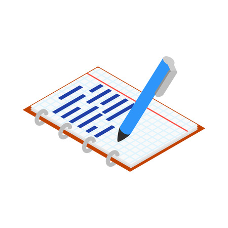 study icon: Notebook and pen icon in isometric 3d style on a white background