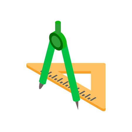 draftsmanship: Compass and triangular ruler icon in isometric 3d style on a white background Illustration