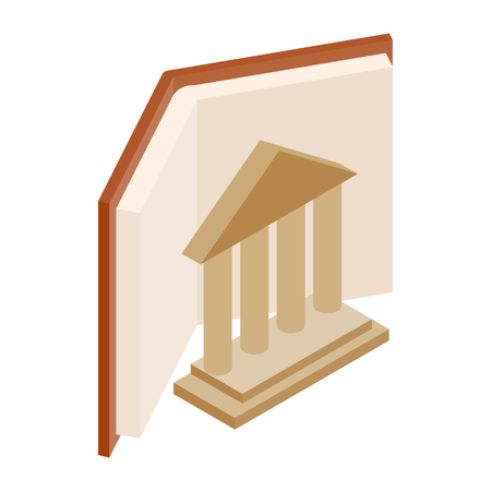 Ancient columns and book icon in isometric 3d style on a white background