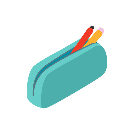 Blue pencil case icon in isometric 3d style on a white background