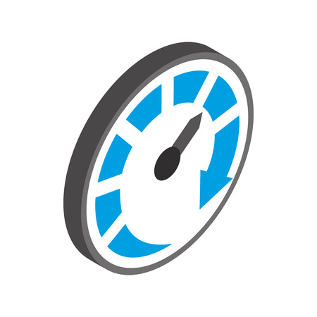 km: Speedometer or gauge icon in isometric 3d style on a white background Illustration