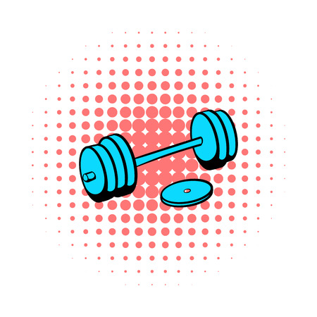barbell: Barbell icon in comics style on a white background Illustration