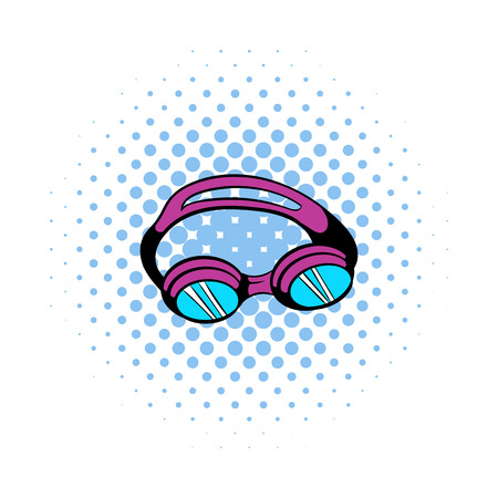 Goggles for swim icon in comics style on a white background