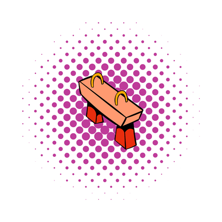 pommel: Pommel horse icon in comics style on a white background