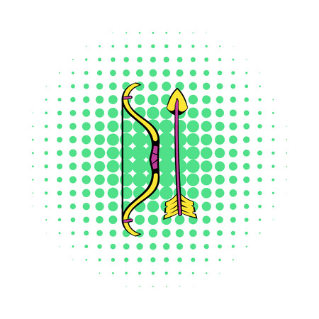 Bow and arrow icon in comics style on a white background