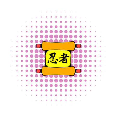 Chinese scroll: Ancient chinese scroll icon in comics style on a white background Illustration