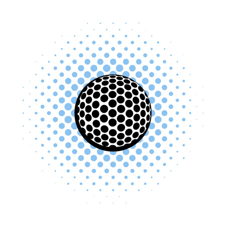 golfball: Golf ball icon in comics style on a white background