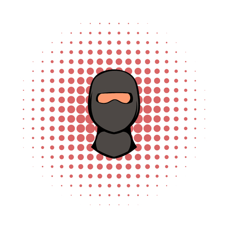 character assassination: Ninja mask icon in comics style on a white background